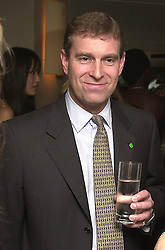 HRH The DUKE OF YORK at a party in London<br />  on 3rd July 2000.OFZ 25<br /> © Desmond O'Neill Features:- 020 8971 9600<br />    10 Victoria Mews, London.  SW18 3PY <br /> www.donfeatures.com   photos@donfeatures.com<br /> MINIMUM REPRODUCTION FEE AS AGREED.<br /> PHOTOGRAPH BY DOMINIC O'NEILL