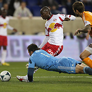 Bradley Wright-Phillips, New York Red Bulls, scores past Tally Hall, Houston Dynamo, during the New York Red Bulls V Houston Dynamo, Major League Soccer second leg of the Eastern Conference Semifinals match at Red Bull Arena, Harrison, New Jersey. USA. 6th November 2013. Photo Tim Clayton