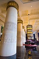 Lobby of the Egyptian themed Raffles Dubai Hotel, Dubai, United Arab Emirates