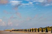 Beach umbrellas ready for tourists on Isle of Palms at Wild Dunes resort near Charleston, South Carolina.