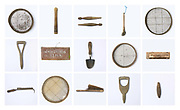 A selection of old, traditional  wooden, gardening tools from the potting shed, Newby Hall estate and gardens, Ripon, North Yorkshire, UK