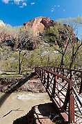 A foot bridge crosses the Virgin River in Zion National Park, near Springdale, Utah, USA. The North Fork of the Virgin River carved spectacular Zion Canyon through reddish and tan-colored Navajo Sandstone up to half a mile (800 m) deep and 15 miles (24 km) long. Uplift associated with the creation of the Colorado Plateaus lifted the region 10,000 feet (3000 m) starting 13 million years ago. Zion and Kolob canyon geology includes 9 formations covering 150 million years of mostly Mesozoic-aged sedimentation, from warm, shallow seas, streams, lakes, vast deserts, and dry near-shore environments. Mormons discovered the canyon in 1858 and settled in the early 1860s. U.S. President Taft declared it Mukuntuweap National Monument in 1909. In 1918, the name changed to Zion (an ancient Hebrew name for Jerusalem), which became a National Park in 1919. The Kolob section (a 1937 National Monument) was added to Zion National Park in 1956. Unusually diverse plants and animals congregate here where the Colorado Plateau, Great Basin, and Mojave Desert meet. (Panorama stitched from 6 photos.)