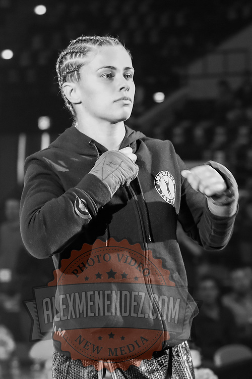 TAMPA, FL - FEBRUARY 06: Paige Van Zant walks out for her fight against Britain Hart during the BKFC KnuckleMania event at RP Funding Center on February 6, 2021 in Tampa, Florida. (Photo by Alex Menendez/Getty Images) Image converted to Black and White*** Local Caption *** Paige Van Zant; Britain Hart