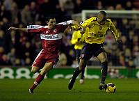 Photo: Jed Wee.<br /> Middlesborough v Arsenal. The Barclays Premiership. 03/02/2007.<br /> <br /> Arsenal's Thierry Henry (R) surges past Middlesbrough's Stewart Downing.