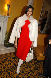 PADMA LAKSHMI wife of Salman Rushdie at a party to celebrate the launch of Michelle Watches held at the Blue Bar, The Berkeley Hotel, London on 7th October 2004.<br /><br />NON EXCLUSIVE - WORLD RIGHTS
