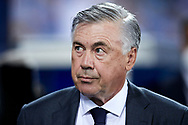 Head coach Carlo Ancelotti of Real Madrid CF looks on during the La Liga Smart Santander match that will face Deportivo Alaves v Real Madrid CF at Mendizorrotza on Aug 14, 2021 in Vitoria, Spain.