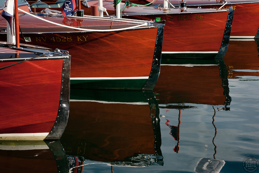 """""""Wooden Boats on Lake Tahoe 1"""" - These classic wooden boats were photographed at the 2011 Tahoe Concours d'Elegance."""