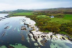 Aerial view of beach on Claggain Bay near Ardtalla Farm on east coast of Islay, Inner Hebrides, Scotland, UK