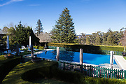 The Blue Mountains, NSW, Australia. Saturday 8th August 2020. Darley's Restaurant and immaculate  gardens, The Blue Mountains, NSW. Darley's Restaurant is Lilianfels Resort fine dining Blue Mountains Restaurant. Its a heritage listed building surrounded by beautifuly kept english style heritage  gardens and heated swimming pool.
