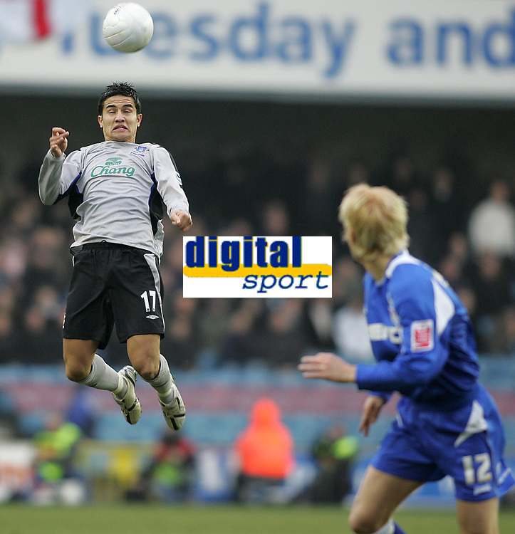 Photo: Lee Earle.<br /> Millwall v Everton. The FA Cup. 07/01/2006. Everton's Tim Cahill clears (L) as Zak Whitbread watches.
