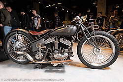 Abnormal Cycles' Samuele Reali's 1940 Harley-Davidson flathead custom in the AMD World Championship of Custom Bike Building in the Intermot Customized hall during the Intermot International Motorcycle Fair. Cologne, Germany. Sunday October 7, 2018. Photography ©2018 Michael Lichter.