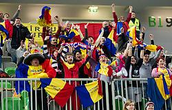 Fans of Valcea during handball match between RK Krim Mercator and CS Oltchim RM Valcea (ROU) of Women's EHF Champions League 2011/2012, on February 4, 2012 in Arena Stozice, Ljubljana, Slovenia. (Photo By Vid Ponikvar / Sportida.com)