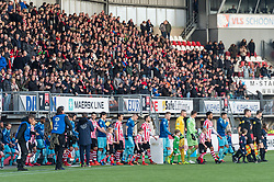the teams of Sparta and Excelsior enter the pitch during the Dutch Eredivisie match between Sparta Rotterdam and sbv Excelsior at the Sparta stadium Het Kasteel on January 21, 2018 in Rotterdam, The Netherlands