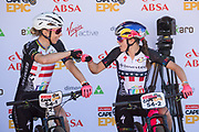 Annika Langvad and Kate Courtney of Team Investec Songo Specialized prepare to win the Prologue of the 2018 Absa Cape Epic Mountain Bike stage race held at the University of Cape Town (UCT) in Cape Town, South Africa on the 18th March 2018<br /> <br /> Photo by Greg Beadle/Cape Epic/SPORTZPICS<br /> <br /> PLEASE ENSURE THE APPROPRIATE CREDIT IS GIVEN TO THE PHOTOGRAPHER AND SPORTZPICS ALONG WITH THE ABSA CAPE EPIC<br /> <br /> {ace2018}
