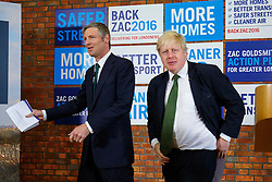 © Licensed to London News Pictures. 12/04/2016. London, UK. Conservative's Mayor of London candidate ZAC GOLDSMITH and current Mayor of London BORIS JOHNSON launching Zac's manifesto at Open Door Community Centre in Wimbledon on Tuesday, 12 April 2016. Photo credit: London News Pictures