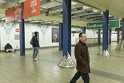 April 17, 2018 - New York, New York, United States - Music streaming company Spotify installed tribute to David Bowie on New York subway station Broadway-Lafayette street (Credit Image: © Lev Radin/Pacific Press via ZUMA Wire)