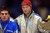 Skøyter: Verdenscup Heerenveen 12.01.2002. Grunde Njøs fra Norge - 500 meter gruppe B.<br /><br />Foto: Ronald Hoogendoorn, Digitalsport