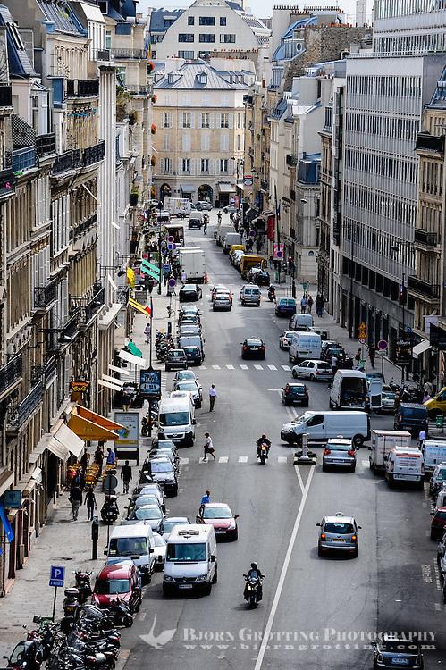 Paris, France. View from Rue du Faubourg Saint-Honore.