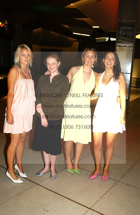 Left to right, PENELOPE BUCKLEY, GEORGIANA BRISTOL, GEORGINA BALY and LAVINIA BRENNAN at a concert performance of Death in Venice by Benjamin Britten in aid of The Venice in Peril Fund held at the Queen Elizabeth Hall, London on 30th June 2004.  Before the concert a cheque for 1 Million Pounds was presented by Pizza Express to the The Venice in Peril Fund.