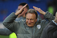 Cardiff City manager Neil Warnock celebrates as he does the 'Ayatollah' for the Cardiff city fans after the game. EFL Skybet championship match, Cardiff city v Rotherham Utd at the Cardiff city stadium in Cardiff, South Wales on Saturday 18th February 2017.<br /> pic by Carl Robertson, Andrew Orchard sports photography.