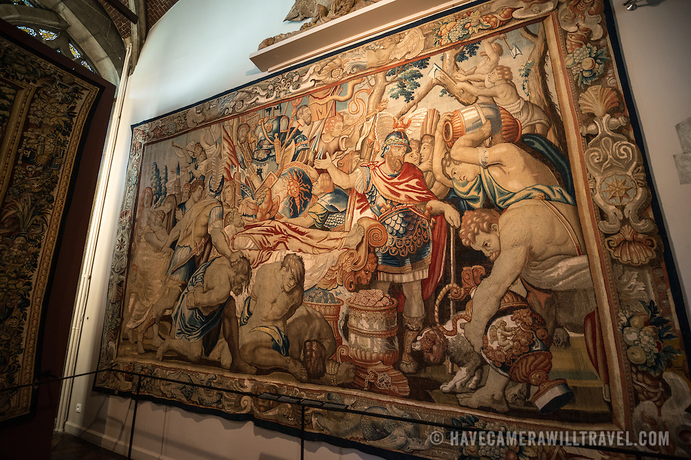 A 17th century baroque tapestry on display at the Museum of the City of Brussels. The museum is dedicated to the history and folklore of the town of Brussels, its development from its beginnings to today, which it presents through paintings, sculptures, tapistries, engravings, photos and models.