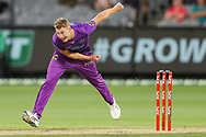 Riley Meredith of the Hobart Hurricanes bowls during the Hobart Hurricanes vs Sydney Sixers  T20 Big Bash League match at Melbourne Cricket Ground, Melbourne, Australia on 24 January 2021.