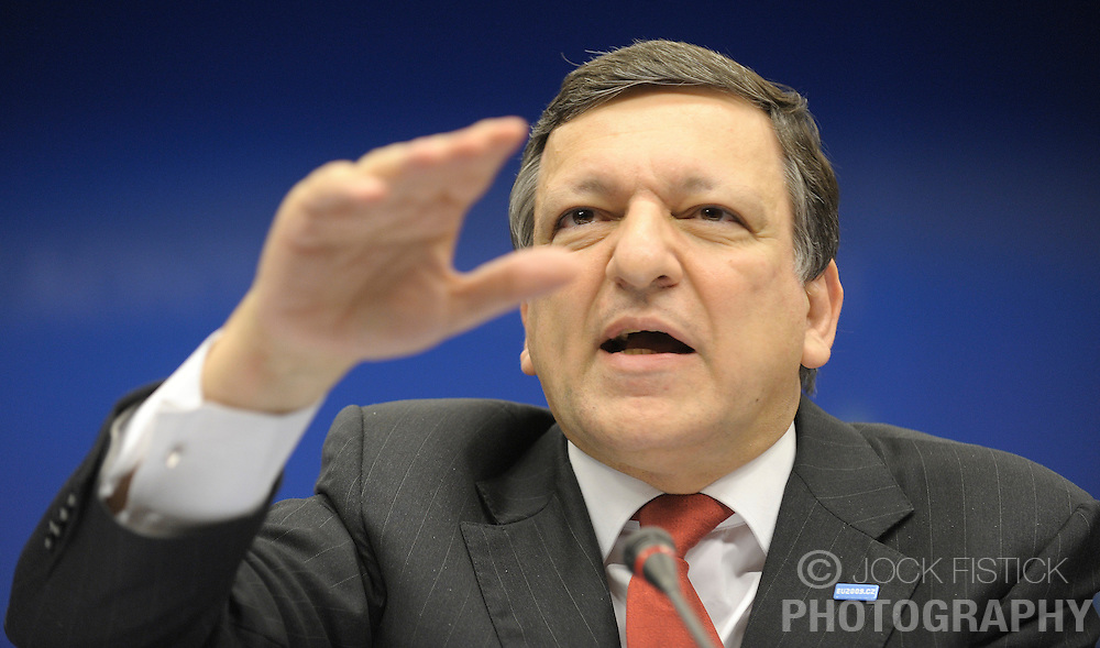 Jose Manuel, Barroso, president of the European Commission, speaks during a news conference following the first day of a two-day European Summit at the EU Council headquarters in Brussels, Belgium, on Thursday, June 18, 2009. (Photo © Jock Fistick)