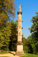 A Neo Classic column in the  English gardens  designed by Capability Brown.  Buckingham, England .<br /> <br /> Visit our EARLY MODERN ERA HISTORICAL PLACES PHOTO COLLECTIONS for more photos to buy as wall art prints https://funkystock.photoshelter.com/gallery-collection/Modern-Era-Historic-Places-Art-Artefact-Antiquities-Picture-Images-of/C00002pOjgcLacqI