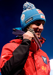 Second placed Gregor Schlierenzauer of Austria during medal ceremony after the Flying Hill Individual  at 3rd day of FIS Ski Flying World Championships Planica 2010, on March 20, 2010, Planica, Slovenia.  (Photo by Vid Ponikvar / Sportida)