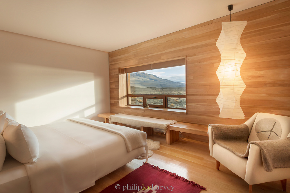 Bedroom in Tierra Patagonia Hotel in Torres del Paine National Park, Chile