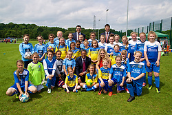 CARDIFF, WALES - Thursday, June 1, 2017: Vaughan Gethin (Welsh Cabinet Secretary for Health, Well-being and Sport) [C, left], Manon Rees-O'Brien (Community Sport Senior Officer for Sport Wales) [c, right and Welsh Football Trust Chief Executive Neil Ward with players during the FAW National Women's & Girls Football Festival in at the Cardiff University Sports Fields in Llanrumney. (Pic by David Rawcliffe/Propaganda)