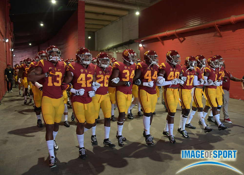 Sep 10, 2016; Los Angeles, CA, USA; USC Trojans players walk through the Los Angeles Memorial Coliseum tunnel to the field during a NCAA football game against the Utah State Aggies