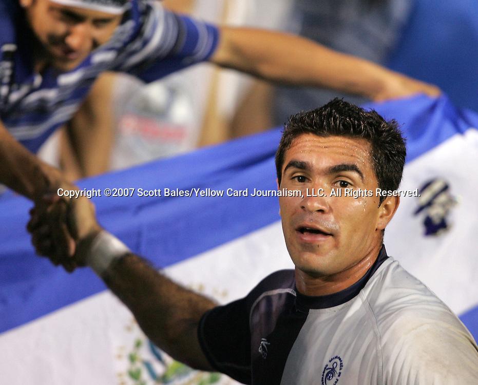 27 March 2007: El Salvador goalkeeper Juan José Gómez shakes hands with a fan during pregame warmups. The National Team of Honduras defeated the National Team of El Salvador 2-0 at SAS Stadium in Cary, North Carolina in an International Friendly soccer match.