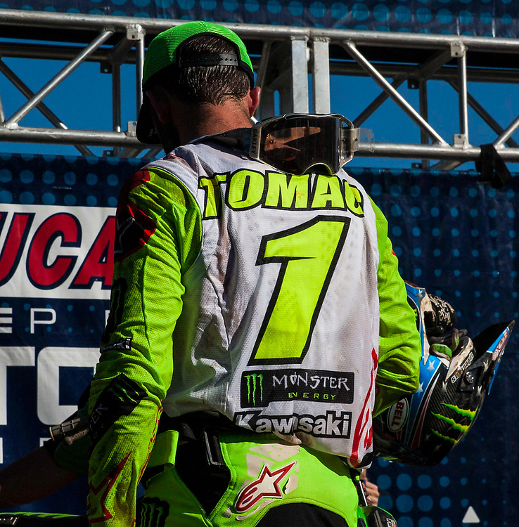 JUL 28, 2018, Washougal, WA  USA :  # 1 Eli Tomac on the podium after a big win after the Lucas Oil Pro Motocross Washougal National 450 class championship at  Washougal, WA  Thurman James / CSM