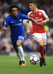 17 September 2017 -  Premier League - Chelsea v Arsenal - Willian of Chelsea in action with Granit Xhaka of Arsenal - Photo: Marc Atkins/Offside
