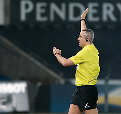 Referee John Lacey awards a penalty<br /> <br /> Photographer Simon King/Replay Images<br /> <br /> European Rugby Champions Cup Round 5 - Ospreys v Saracens - Saturday 13th January 2018 - Liberty Stadium - Swansea<br /> <br /> World Copyright © Replay Images . All rights reserved. info@replayimages.co.uk - http://replayimages.co.uk