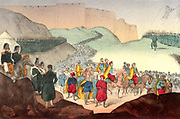 Crimean (Russo-Turkish) War 1853-1856: Garrison of Kars surrendering to General Mouravieff, 26 November 1855. Turks, mainly infantry, under General Kmety, with assistance of some British artillery, stubbornly defended the city until surrender was inevitable. Hand-coloured Italian lithograph c1857.