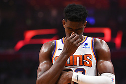 February 13, 2019 - Los Angeles, CA, U.S. - LOS ANGELES, CA - FEBRUARY 13: Phoenix Suns Center DeAndre Ayton (22) reacts after getting hit in the face during a NBA game between the Phoenix Suns and the Los Angeles Clippers on February 13, 2019 at STAPLES Center in Los Angeles, CA. (Photo by Brian Rothmuller/Icon Sportswire) (Credit Image: © Brian Rothmuller/Icon SMI via ZUMA Press)