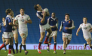 France Lucas Blanc catches during the Under 20s Six Nations Championship match between England and France at the American Express Community Stadium, Brighton and Hove, England on 20 March 2015. Photo by Phil Duncan.