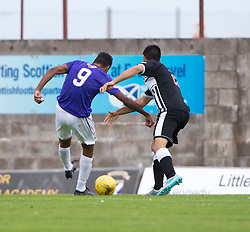 East Fife's Nathan Austin (9) scoring their second goal. <br /> East Fife 2 v 1 Elgin City, Ladbrokes Scottish Football League Division Two game played 22/8/2015 at East Fife's home ground, Bayview Stadium.