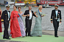 (L-R) Crown Prince Frederik of Denmark, Crown Princess Mary of Denmark, Princess Martha Louise of Norway, Crown Princess Mette-Marit of Norway and Crown Prince Haakon of Norway depart for the banquet after the wedding ceremony of Princess Madeleine of Sweden and Christopher O'Neill hosted by King Carl Gustaf XIV and Queen Silvia at The Royal Palace in Stockholm, Sweden, June 8, 2013 . Photo by Schneider-Press / i-Images. .UK & USA ONLY