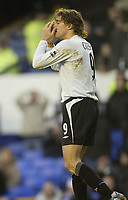 Photo: Aidan Ellis.<br /> Everton v Chelsea. The FA Cup. 28/01/2006.<br /> Chelsea's Hernan Crespo after missing another chance to score
