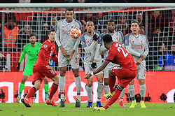 13.03.2019, CL, Champions League, Achtelfinale Rueckspiel, FC Bayern Muenchen vs FC Liverpool, Allianz Arena Muenchen , Fussball, Sport im Bild:.. Freistoss David Alaba (FCB), im Mauer Joel Matip (FC Liverpool), Fabinho (FC Liverpool), Georginio Wijnaldum (FC Liverpool) und Roberto Firmino (FC Liverpool)..DFL REGULATIONS PROHIBIT ANY USE OF PHOTOGRAPHS AS IMAGE SEQUENCES AND / OR QUASI VIDEO...Copyright: Philippe Ruiz..Tel: 089 745 82 22.Handy: 0177 29 39 408.e-Mail: philippe_ruiz@gmx.de (Credit Image: © Philippe Ruiz/Xinhua via ZUMA Wire)