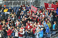 13 December 2015: Stanford fans celebrate after a goal. The Clemson University Tigers played the Stanford University Cardinal at Sporting Park in Kansas City, Kansas in the 2015 NCAA Division I Men's College Cup championship match. Stanford won the game 4-0.