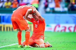 29.06.2014, Castelao, Fortaleza, BRA, FIFA WM, Niederlande vs Mexico, Achtelfinale, im Bild Arjen Robben (Niederlande) und Dirk Kuyt (Niederlande) jubeln // during last sixteen match between Netherlands and Mexico of the FIFA Worldcup Brazil 2014 at the Castelao in Fortaleza, Brazil on 2014/06/29. EXPA Pictures © 2014, PhotoCredit: EXPA/ fotogloria/ Best Photo Agency<br /> <br /> *****ATTENTION - for AUT, FRA, POL, SLO, CRO, SRB, BIH, MAZ only*****