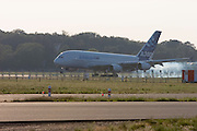 A380 prototype number 001?which made the maiden flight?returns from its daily testing routine.