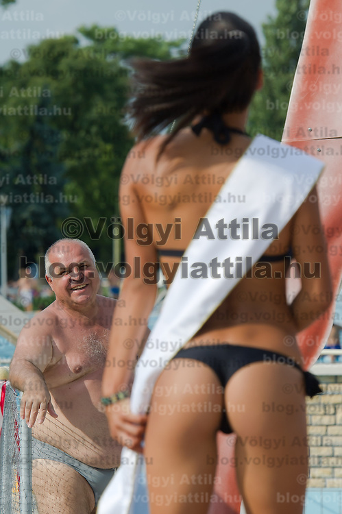 Angela Toth (R) placed second during the Miss Bikini Hungary beauty contest held in Budapest, Hungary on August 06, 2011. ATTILA VOLGYI