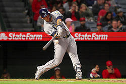 May 18, 2018 - Anaheim, CA, U.S. - ANAHEIM, CA - MAY 18: Wilson Ramos (40) of the Rays hits the pitch over the fence for a home run during the major league baseball game between the Tampa Bay Rays and the Los Angeles Angels on May 18, 2018 at Angel Stadium of Anaheim in Anaheim, California. (Photo by Cliff Welch/Icon Sportswire) (Credit Image: © Cliff Welch/Icon SMI via ZUMA Press)
