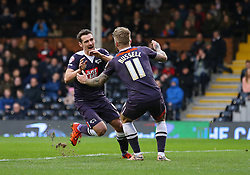 Craig Bryson ( L ) of Derby County celebrates after he scores to make it 1-1 - Mandatory byline: Paul Terry/JMP - 06/02/2016 - FOOTBALL - Craven Cottage - Fulham, England - Fulham v Derby County - Sky Bet Championship
