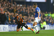 Omar Elabdellaoui of Hull City is tackled by Dominic Calvert-Lewin of Everton. Premier league match, Everton v Hull city at Goodison Park in Liverpool, Merseyside on Saturday 18th March 2017.<br /> pic by Chris Stading, Andrew Orchard sports photography.